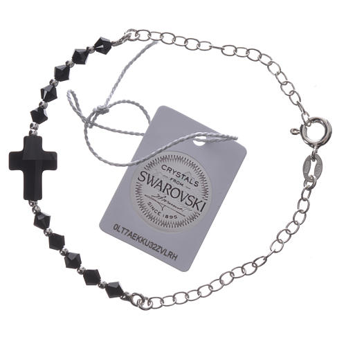 Bracelet arg. 800 croix Swarovski noir grains 4mm 2