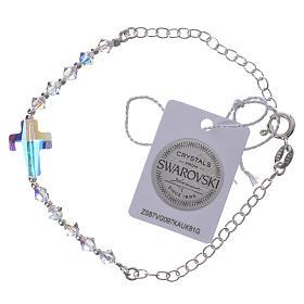 Bracelet arg. 800 croix Swarovski blanc grains 4mm s1