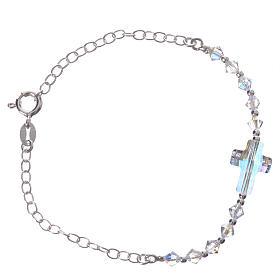Bracelet arg. 800 croix Swarovski blanc grains 4mm s2