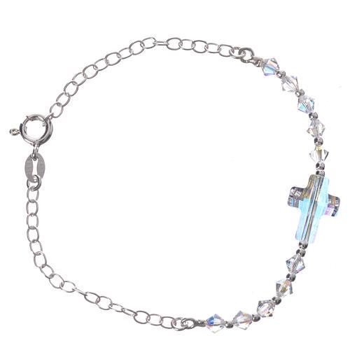 Bracelet arg. 800 croix Swarovski blanc grains 4mm 2