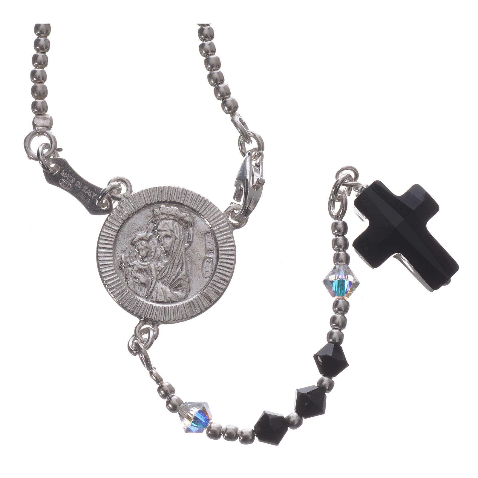Rosenkranz Silber 925 und schwarzen Swarovski 4mm 4
