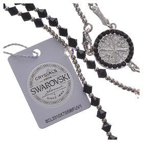 Rosenkranz Silber 925 und schwarzen Swarovski 4mm s4