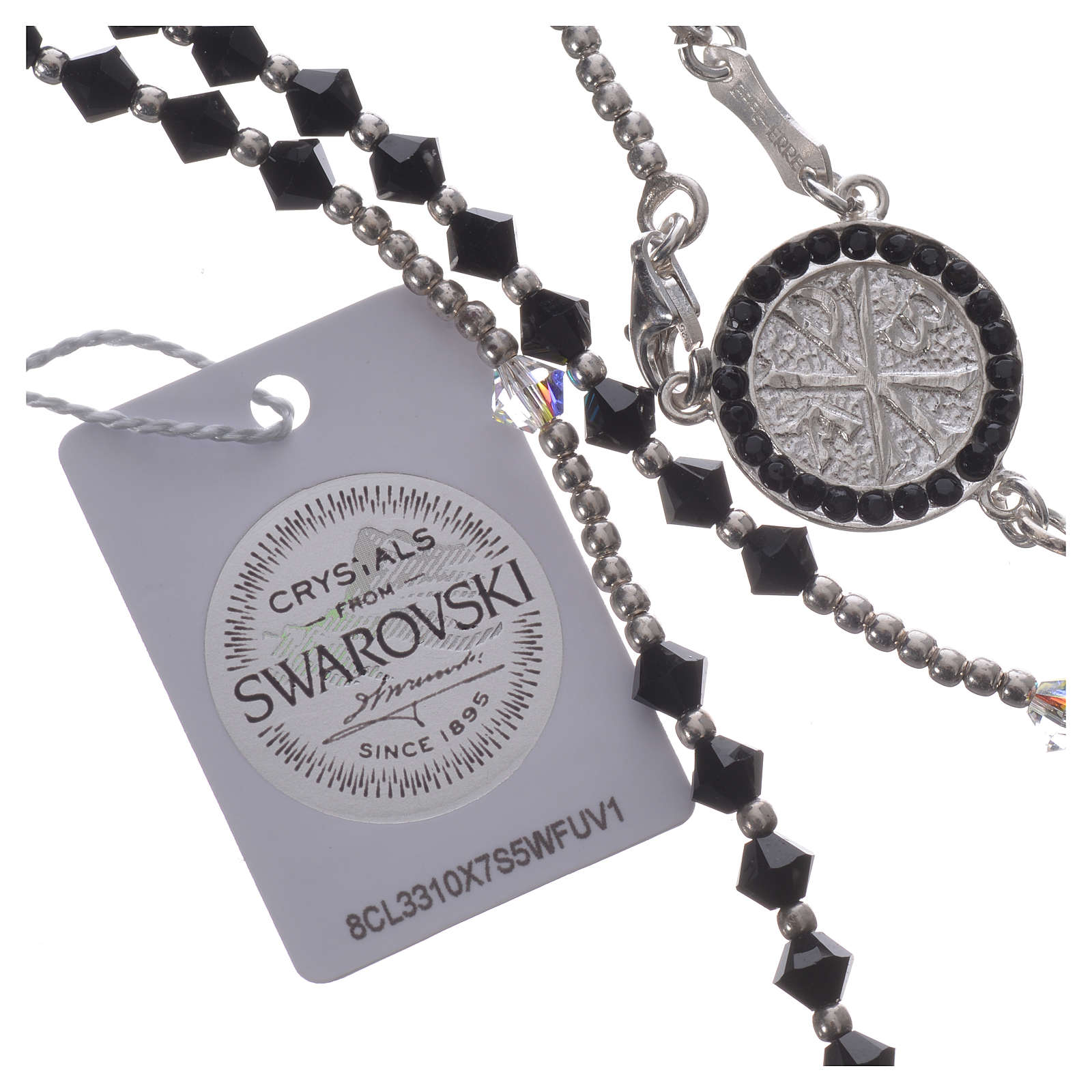 Rosary beads in 925 silver and black and white Swarowski, 4mm 4