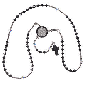Rosary beads in 925 silver and black and white Swarowski, 4mm s3