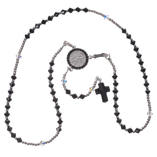 Rosary beads in 925 silver and black and white Swarowski, 4mm 3