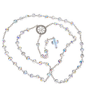 Rosary beads in 800 silver and Swarowski, 6mm Pax symbol medal s3