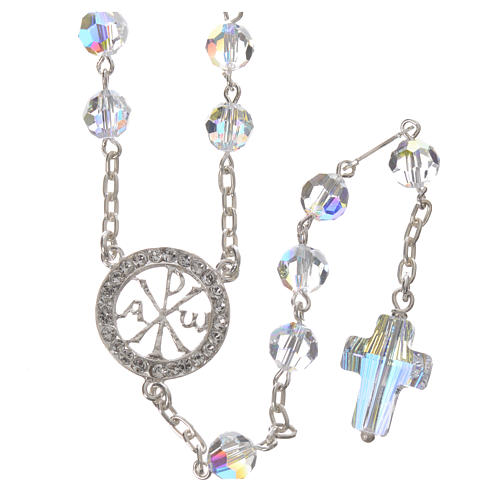 Rosary beads in 800 silver and Swarowski, 6mm Pax symbol medal 1