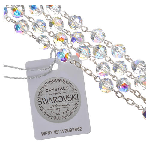Rosary beads in 800 silver and Swarowski, 6mm Pax symbol medal 4