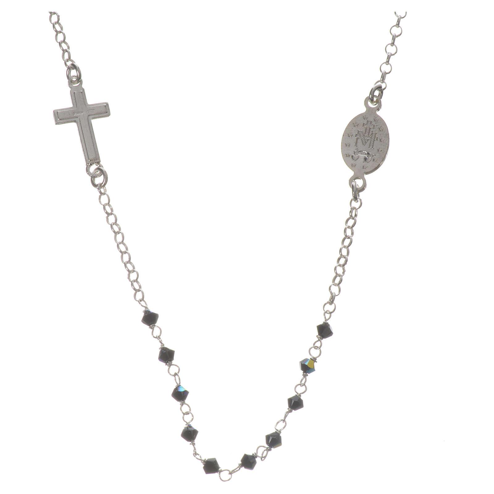 Collar Plata 925 y Swarovski negro Milagrosa 3 mm 4
