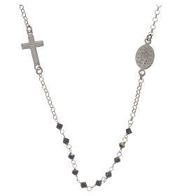 Collar Plata 925 y Swarovski negro Milagrosa 3 mm s2