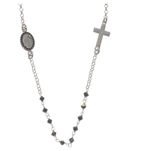 Collar Plata 925 y Swarovski negro Milagrosa 3 mm 1