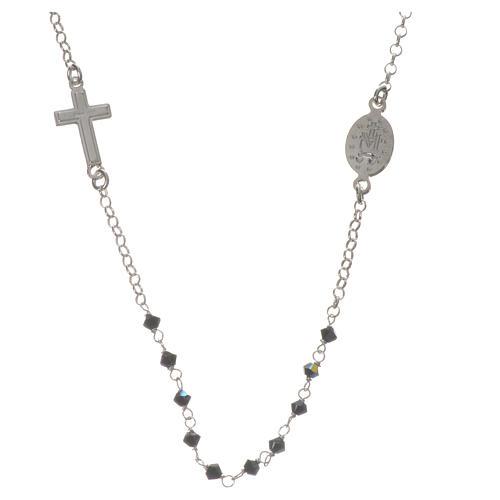 Collar Plata 925 y Swarovski negro Milagrosa 3 mm 2