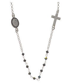 Terços de Prata: Colar prata 925 e Swarovski preto Milagrosa 3 mm