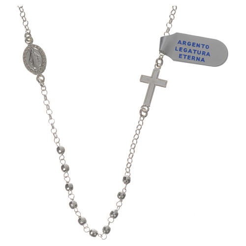 Necklace in 925 silver with Miraculous Medal 3mm with multifaceted grains 1