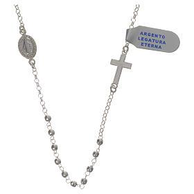 Terços de Prata: Colar prata 925 Medalha Milagrosa 3 mm multifacetado