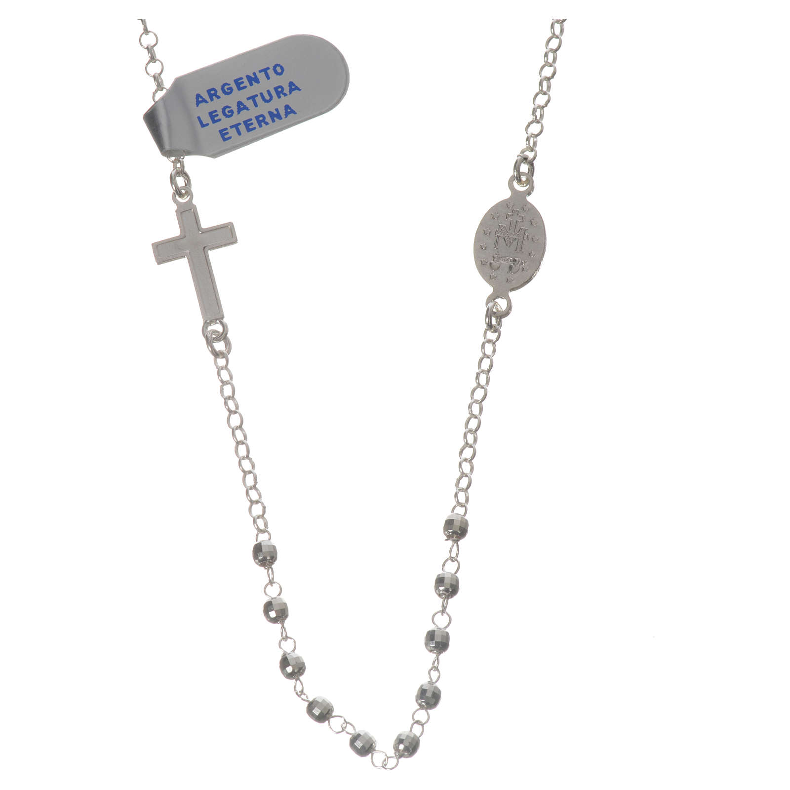 Necklace in 925 silver with Miraculous Medal 3mm with multifaceted grains 4