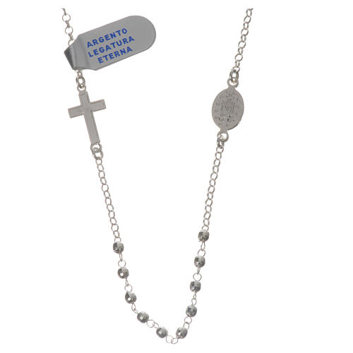 Necklace in 800 silver with Miraculous Medal 3mm with multifaceted grains 2