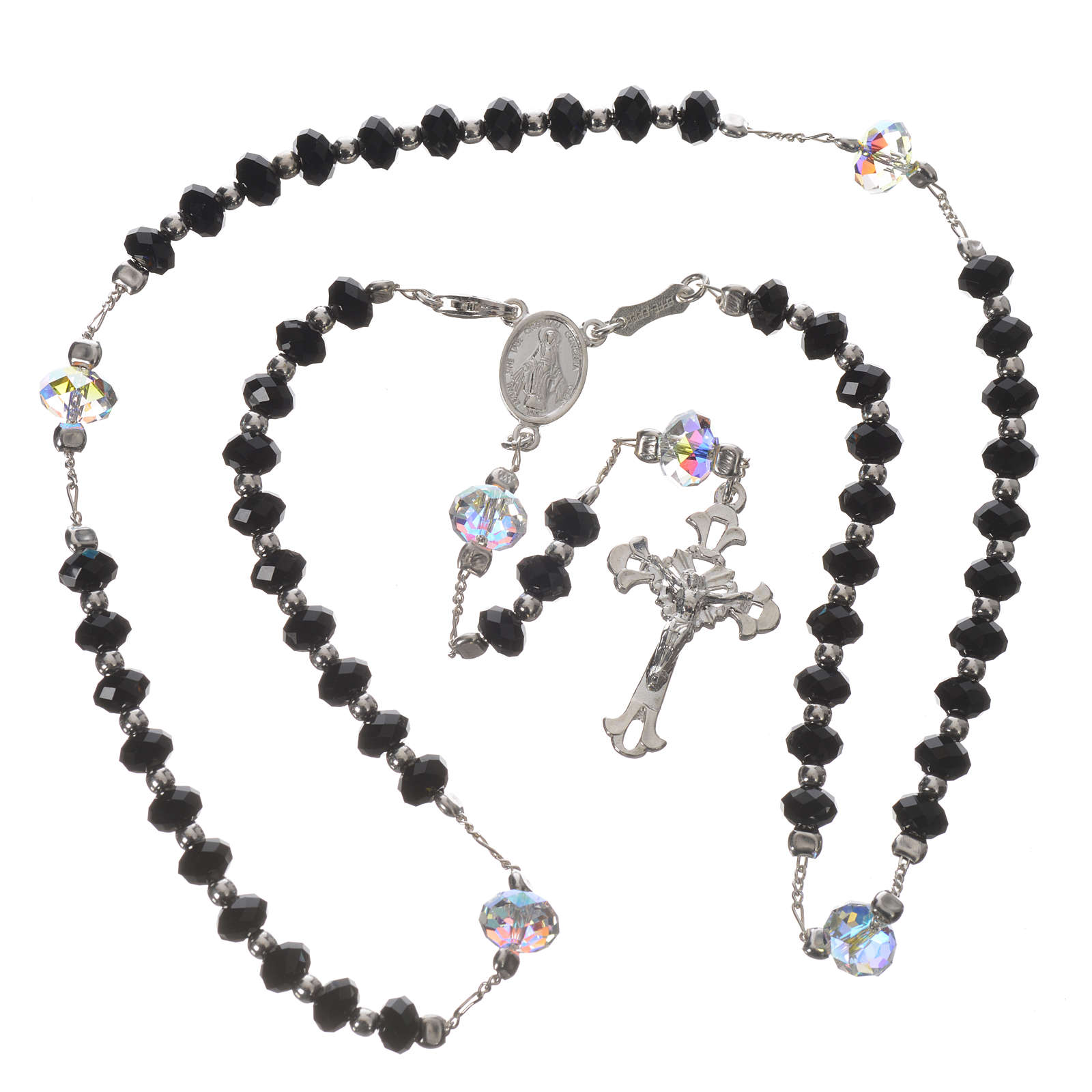 Rosary beads in 925 silver and black Swarowski 6mm and Pater bead 8mm 4