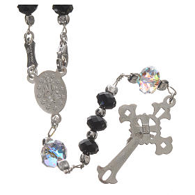 Rosary beads in 925 silver and black Swarowski 6mm and Pater bead 8mm s2