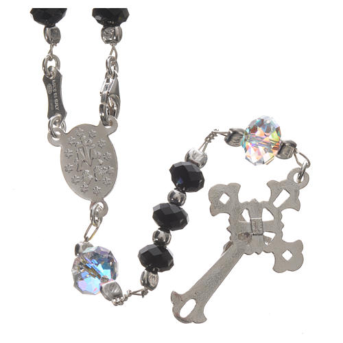 Rosary beads in 925 silver and black Swarowski 6mm and Pater bead 8mm 2