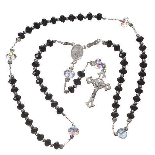 Rosary beads in 925 silver and black Swarowski 6mm and Pater bead 8mm 3