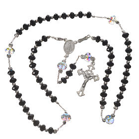 Rosary beads in 925 silver and black Swarowski 6mm and Pater bead 8mm s3