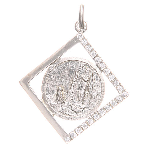 Pendant charm in 925 silver with Our Lady of Lourdes 1.5x1.5cm 1