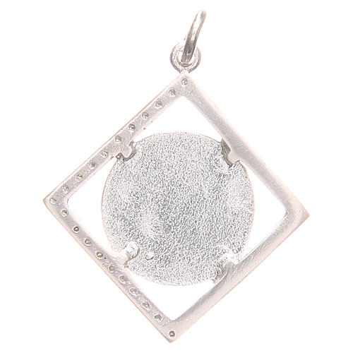Pendant charm in 925 silver with Our Lady of Lourdes 1.5x1.5cm 2