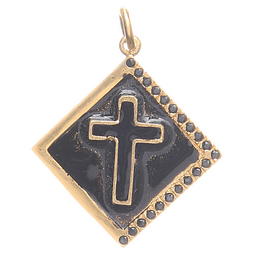 Pendant charm in 800 silver with cross 1.7x1.7cm 1