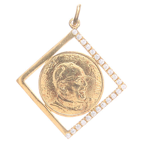 Pendant charm in 800 silver with Pope Francis 1.8x1.8cm 1