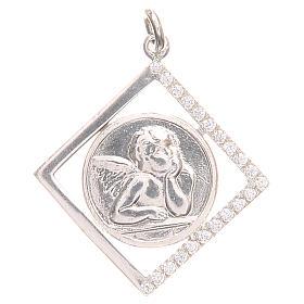 Pendentifs, croix et broches: Pendentif argent 925 ange Raphaël 1,7x1,7 cm