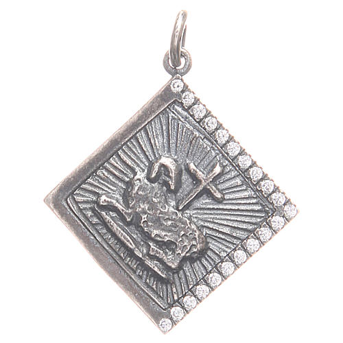 Pendant charm in 800 silver with God's Lamb 1.7x1.7cm 1