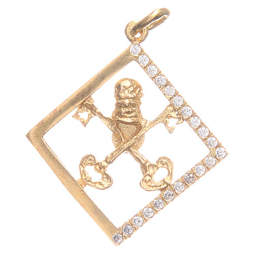 Pendant charm in 800 silver with Vatican keys 1.7x1.7cm 1
