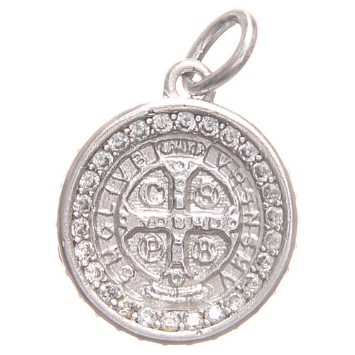 Pendant charm in 800 silver with Saint Benedict Cross 1.7x1.7cm 1