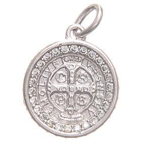 Medaglietta argento 800 Croce San Benedetto diam. 1,7 cm s1