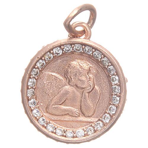 Medaglietta argento 800 Angelo Raffaello 1,6 cm 1