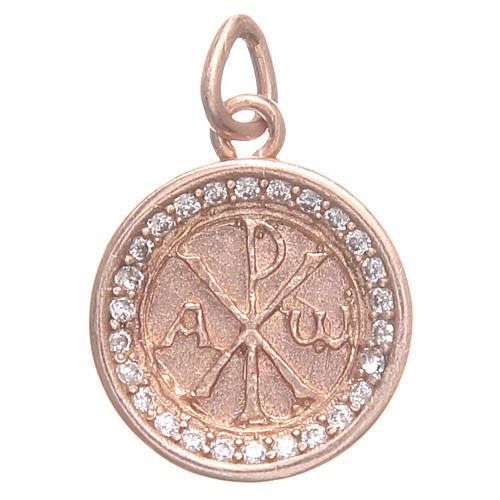 Pendant charm in rose 800 silver with Pax symbol 1.7cm 1