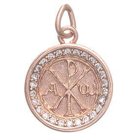 Medalha prata 800 símbolo Chi-Rho 1,7 cm s1