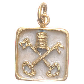 Medalha prata 800 Chaves Vaticano 1,5x1,5 cm s1
