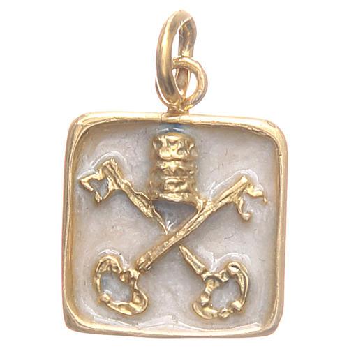 Medalha prata 800 Chaves Vaticano 1,5x1,5 cm 1