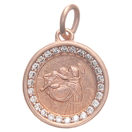 Medal in 800 silver with Saint Anthony of Padua 1.7cm 1