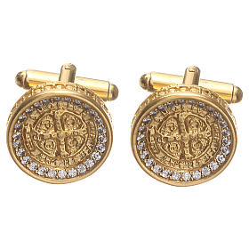 Cufflinks with St Benedict cross in gold plated brass 1,7cm s1