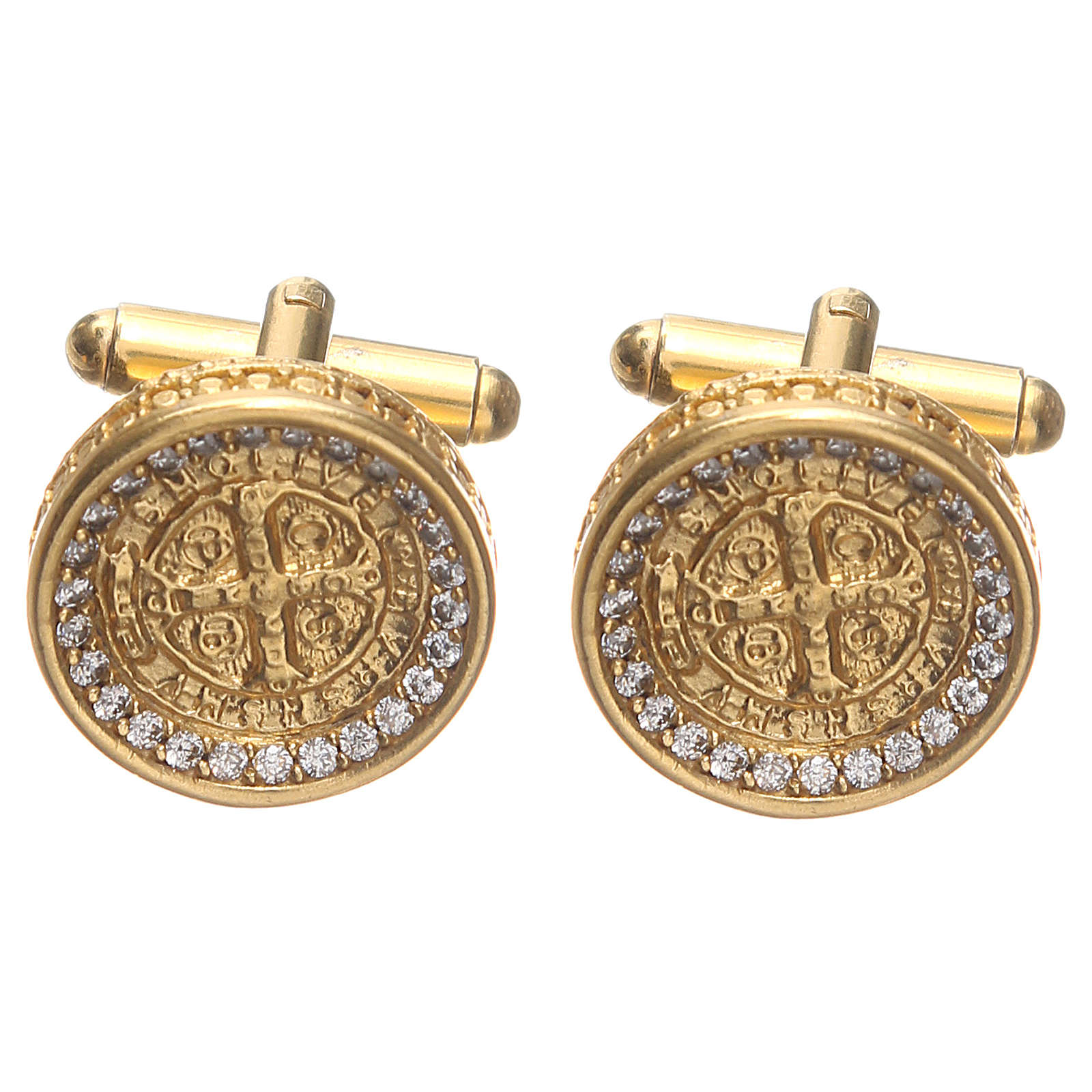 Gemelos para camisa latón dorado Cruz de San Benito 1,7 cm 4