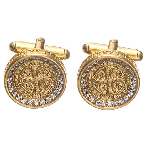 Gemelos para camisa latón dorado Cruz de San Benito 1,7 cm 1