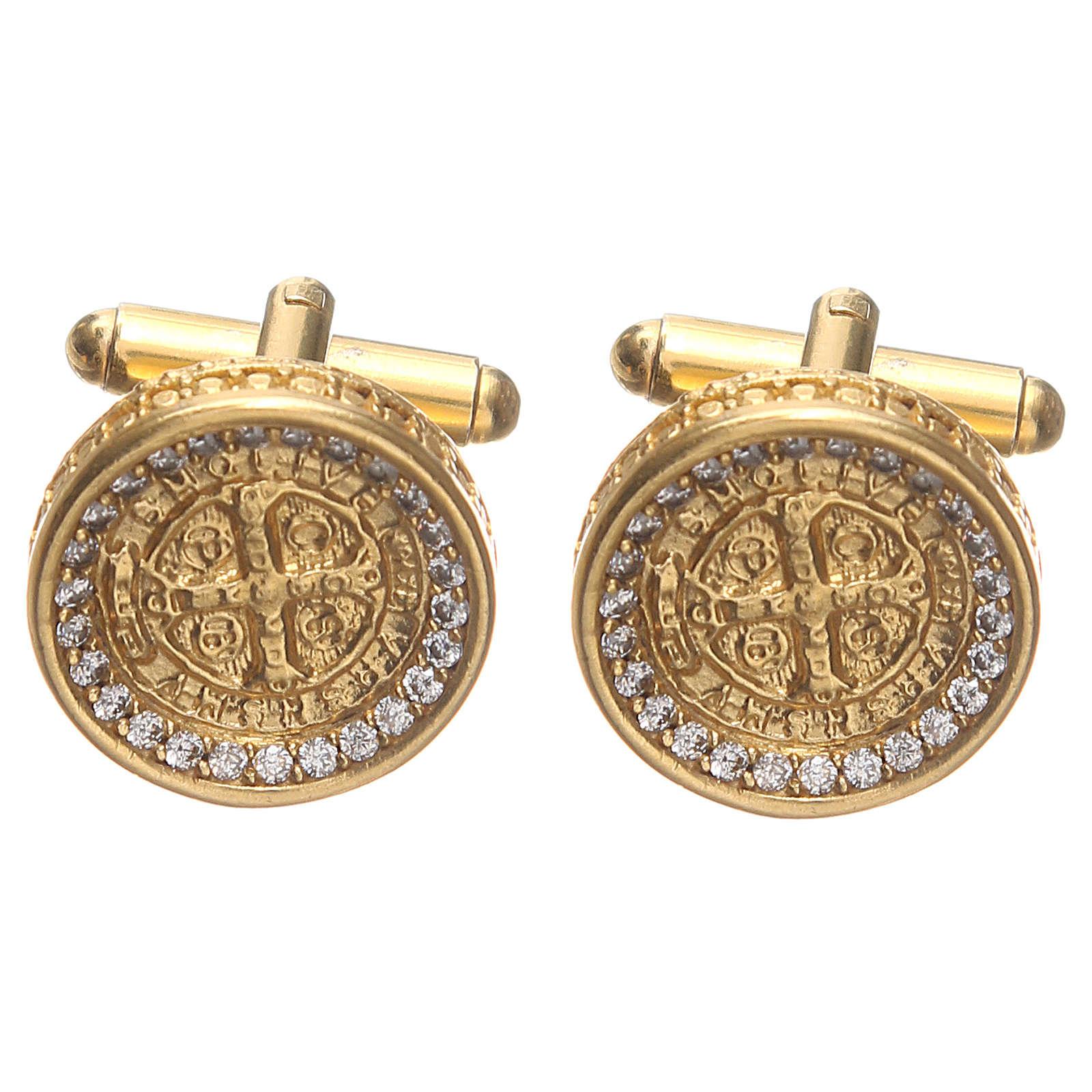 Gemelli uomo argento 800 Croce di San Benedetto 1,7 cm 4
