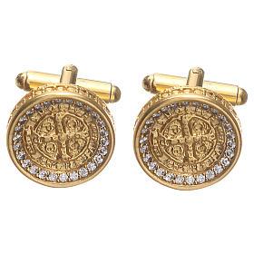 Botões de Punho: Botões de punho homem Latão cruz de São Bento 1,7 cm