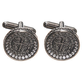 Cufflinks with St Benedict cross in brass 1,7cm s1