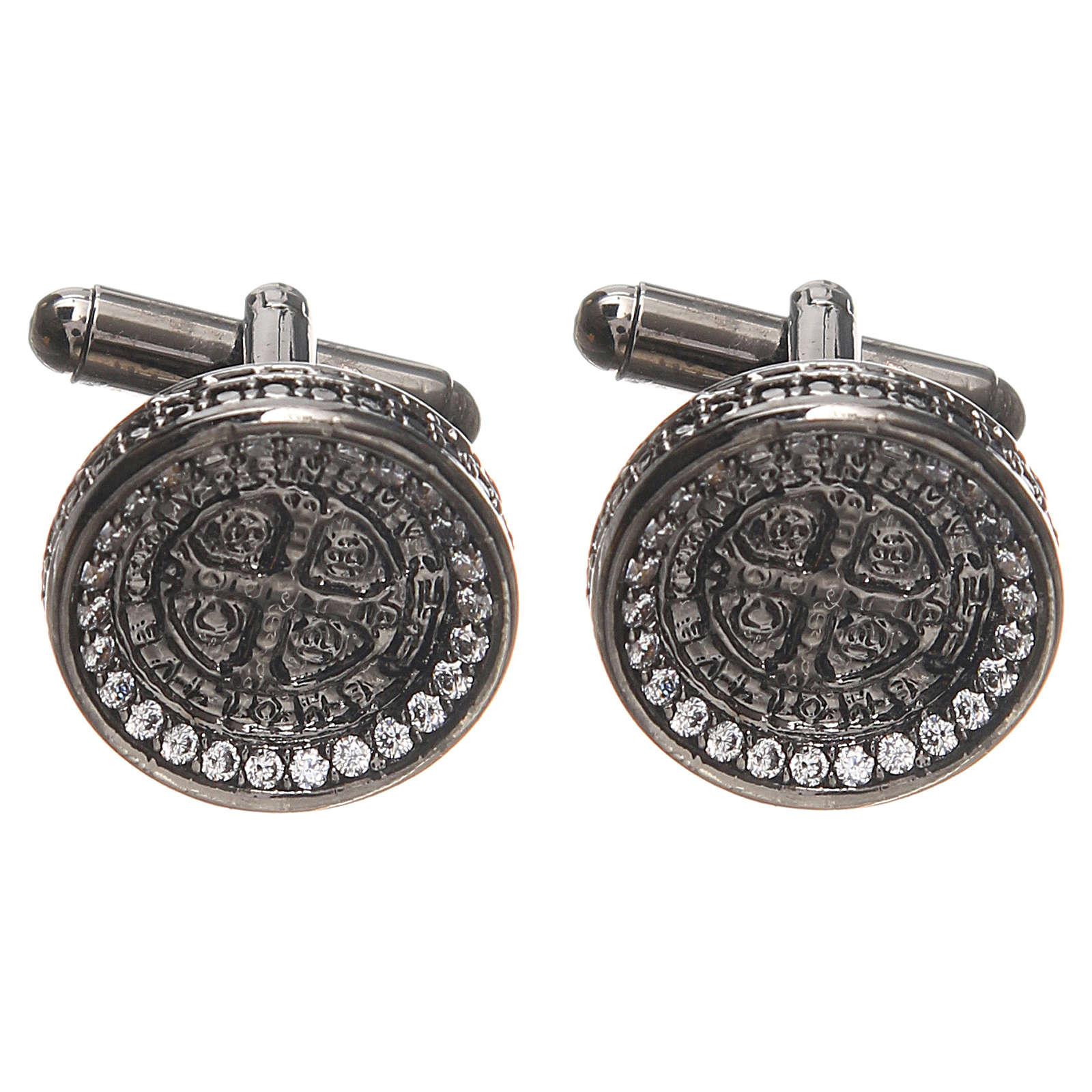 Spinki męskie srebro 800 Krzyż Św. Benedykta 1.7 cm 4