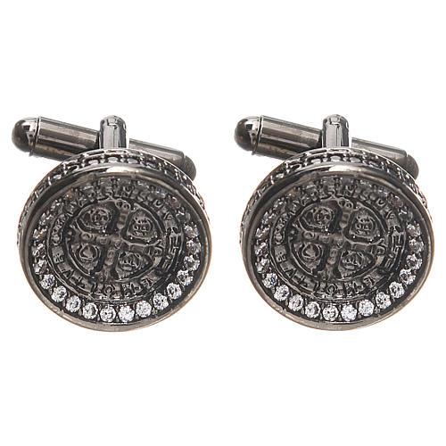 Spinki męskie srebro 800 Krzyż Św. Benedykta 1.7 cm 1