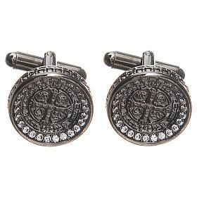 Botões de Punho: Botões de punho homem prata 800 Cruz São Bento 1,7 cm
